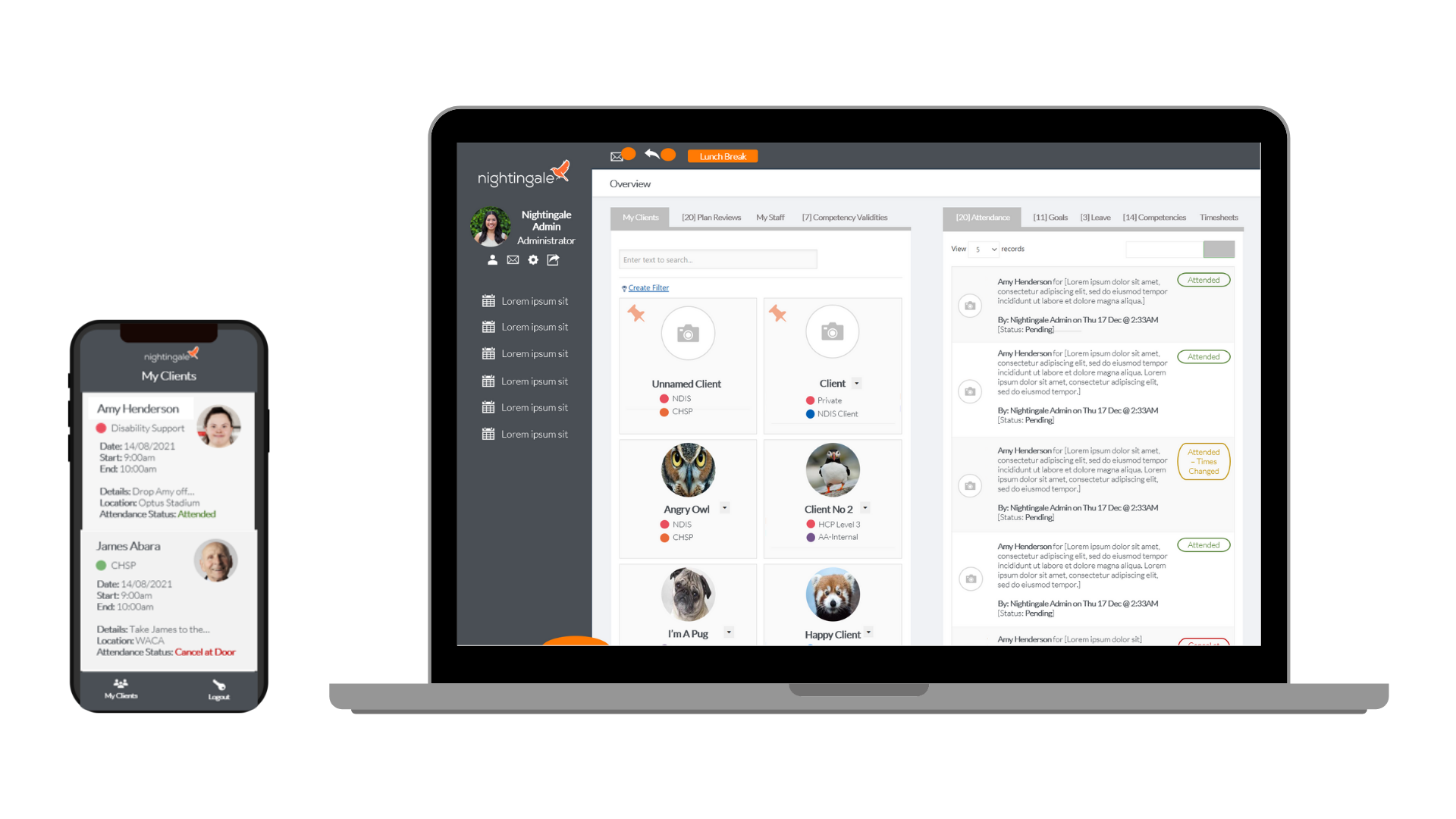 Nightingale Software on Mobile and Desktop